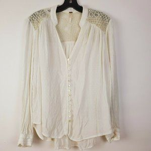 Free People Ivory Gold Lace Canyon Rose Blouse S